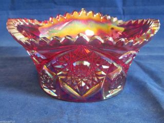 Le Smith Carnival Glass Red Candy or Nut Bowl Georgeous