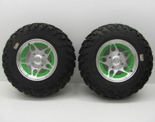 Arctic Cat ATV Front Tires Wheels Rims Pair Carlisle Badlands XTR 25X8