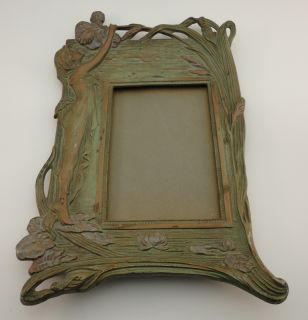 Antique Art Deco Art Nouveau Picture Frame Copper Brass