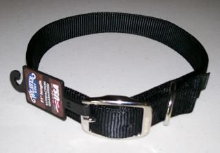 Premium Nylon Dog Collar ~ Double Ply 1 Wide ~ BLACK ~ Made in U.S