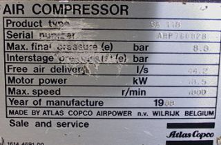Atlas Copco GA 118 Rotary Air Compressor 25HP 95CFM