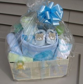 Baby Boy Mini Diaper Cake Gift Set Blue and Green