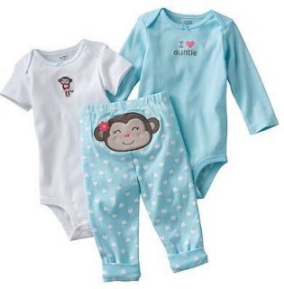 Carters Baby Girl Clothes Set Outfit White Blue Monkey 3 6 9 12 Months