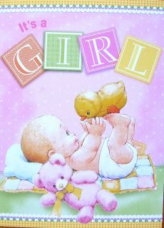 Morehead New Baby Girl Congratulations Teddy Bear Chick Greeting Card
