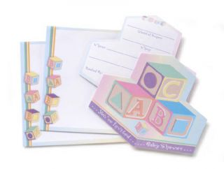 ABC Block Baby Shower Invitations   Set of 24 with colorful envelopes