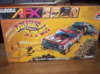 1989 Aurora AFX Tomy Devils Ditch GMC Turbo Truck Race Set Never Set
