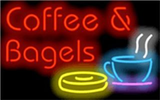 Neon Sign Coffee Bagels Red w Colorful Cup Bagel Graphic 32 Wide x 20
