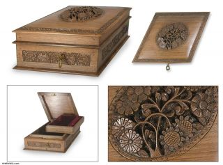 Hand Carved Walnut Wood Jewelry Box Handmade Novica