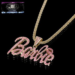 Nicki Minaj 3 Barbie Iced Out Necklace Gold Pink New