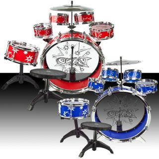 Toy Drum Set Red Blue Musical Instrument Music Band Child Kid Boy Girl