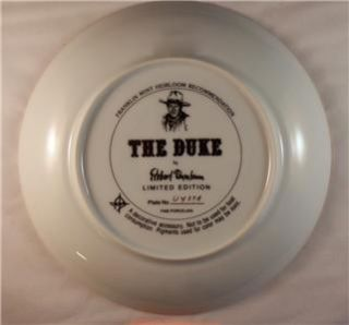 Collectors Plate The Duke Limited Ed Robert Tanenbaum Franklin Mint