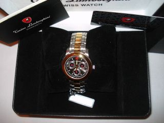 NIB TONINO LAMBORGHINI SWISS MADE WATCH 3 EYES DATE,DAY,MONTH