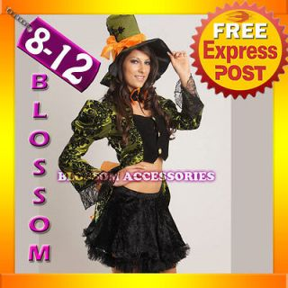 B70 Ladies Mad Hatter Alice In Wonderland Fancy Dress Party Costume