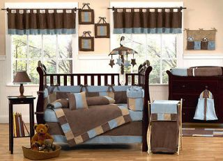Newly listed BROWN AND BLUE 9pc BABY CRIB BEDDING SET FOR NEWBORN BOY