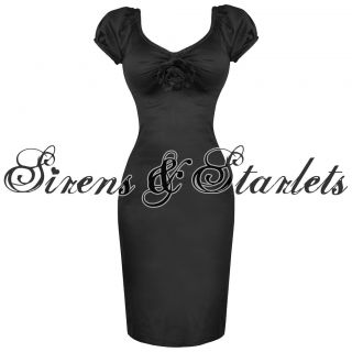 LADIES BLACK FITTED VTG 50S BETTIE PAGE STYLE COCKTAIL PARTY CAREER