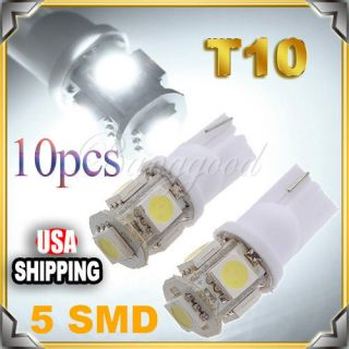 10x T10 194 168 W5W 5 SMD LED White Car Side Wedge Tail Light Lamp