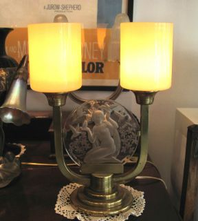 original signed glass art etling france art deco lamp from