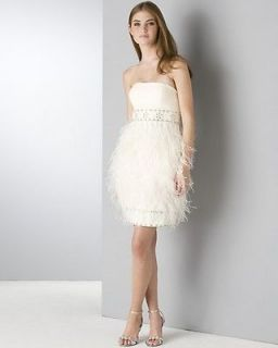 New $528+ SUE WONG Strapless OSTRICH Feather Dress 2 Ivory Wedding