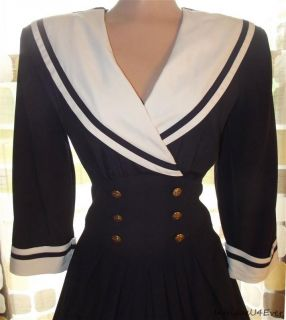 Vintage 80s 50s Full Sweep Nautical Sailor Swing Dress Rockabilly Pin