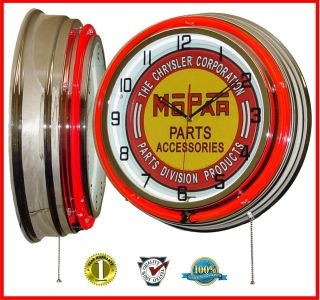 19 inch Chrysler Mopar Parts Accessories Tin Sign Red Double Neon