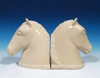 Abingdon Pottery Pair Horsehead Chess Horse Art Deco Ivory Bookends