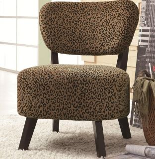 Leopard Print Fabric Round Accent Lounge Chair by Coaster 900420