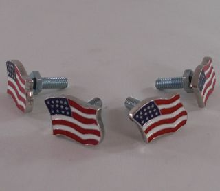 Motorcycle License Plate Tag Frame & American Flag Lic Fastener Bolts