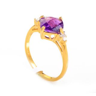 10K Yellow Gold Amethyst Diamond Ring
