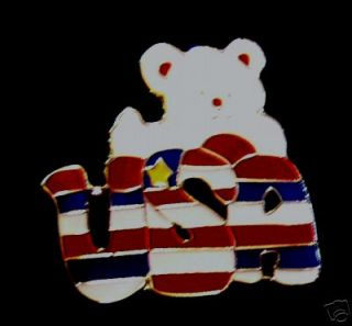 Patriotic Teddy Bear Lapel Pin USA American Flag R25B