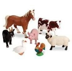 Large Farm Animals Vinylfigure Playset Set Horse Cow