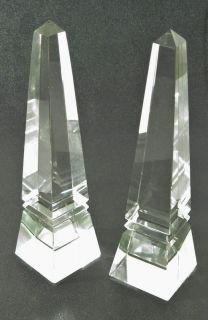 Pair of Vintage Crystal Glass Obelisk Paperweights or Bookends
