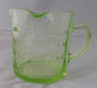 Vintage Green Depression Glass Triple Sprout Measuring Cup