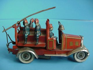 Antique Germany Tin Wind Up Toy Fire Truck Penny Toy