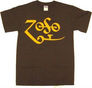 jimmy page classic zoso logo men s tee shirt brown