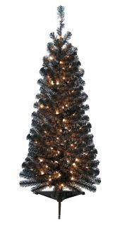 ft Pre Lit Black Artificial Christmas Tree Quick Easy Assembly