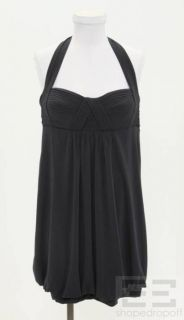 BCBG Max Azria Navy Blue Jersey Pleated Halter Dress Size M