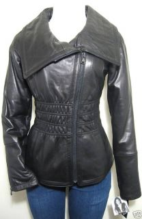 Baby Phat Elastic Waist Leather Jacket Coat Black Large
