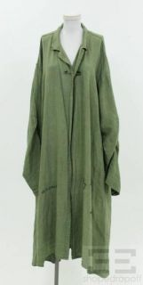Cynthia Ashby Olive Green Linen Safety Pin Closure Jacket Large