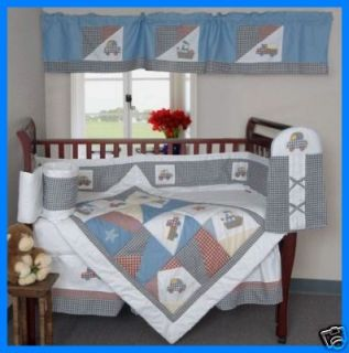 New 6P Baby Boys Crib Bedding Transport Quilt Set