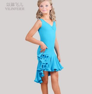 Childrens Latin Salsa Ballroom Dance Dress Girls Dancewear #FY032