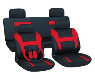 13pc Set Red Black Auto Car Seat Covers Free Steering Wheel Belt Pads
