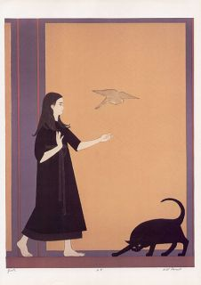 Will Barnet Print Girl Black Cat and Yellow Bird Youth
