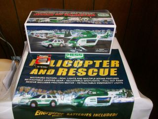 2012 HESS HELICOPTER AND RESCUE TOY TRUCK/BAG/BATTERIES(NEW)