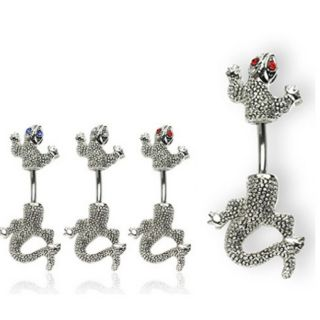 EYED CHAMELEON NAVEL BELLY RING LIZARD BUTTON PIERCING BAR JEWELRY B3