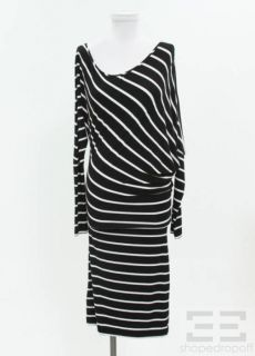 BCBG Max Azria Black White Striped Jersey Dress Size S