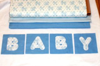 Blue Baby Carriage Minky Rag Quilt Kit 84 6 Square DIY