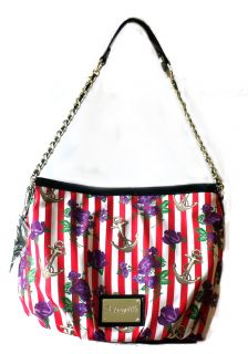 Betsey Johnson Handbag Naughty Roses Hobo Red