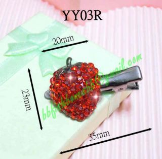 Crystal Rhinestone Hair Barrette Clip Strawberry Cherry