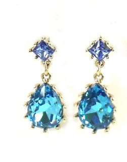 Betsey Johnson Iconic Blue Lagoon Crystal Drop Earrings New 2013