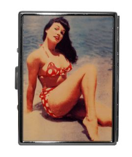 Bettie Page Model Beach Blue Bikini Reflective Metal ID Stash